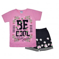 Комплект 233 з квіточками футболка і шорти рожевий