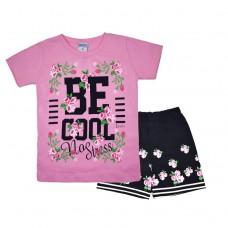 Комплект 233 с цветочками футболка и шорты розовый