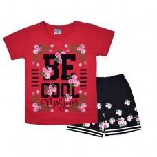 Комплект 233 с цветочками футболка и шорты тёмно-розовый