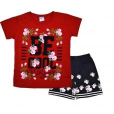 Комплект 233 с цветочками футболка и шорты красный