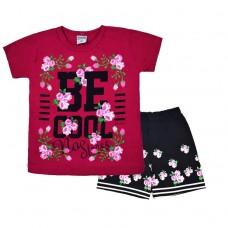 Комплект 233 с цветочками футболка и шорты малиновый
