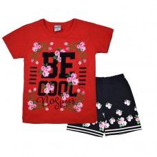 Комплект 233 с цветочками футболка и шорты коралловый