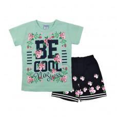 Комплект 233 с цветочками футболка и шорты голубой