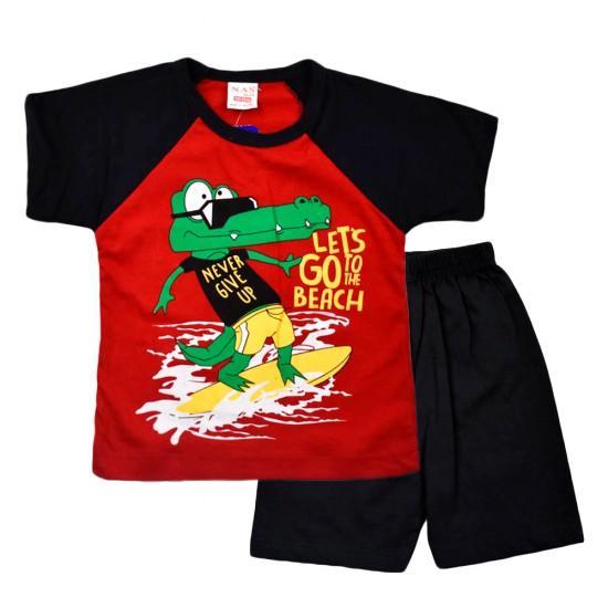 Комплект  1016 с крокодилом футболка и шорты красный