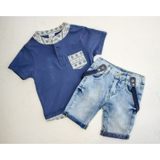 Костюм (футболка, джинсы с подтяжками) BIZIZO 1051
