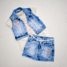 Комплект MOONSTAR 1218  3в1(жилетка+ футболка+спідниця)