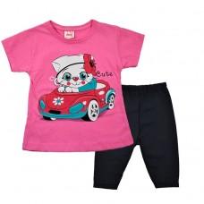 Комплект кіт в машині туніка і лосіни 1251 рожевий