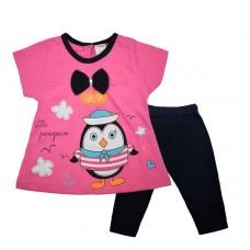 Комплект  с пингвином туника и лосины 524 розовый