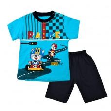 Комплект гонки  футболка і шорти 2019 блакитний