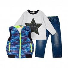 Комплект (жилет , футболка с длинным рукавом, джинсы) 8109
