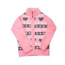 Кофта ADA YILDIZ 5020 на молнии розовая шерстяная