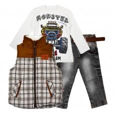 Комплект (куртка-жилет, реглан, джинсы) Cusimio 1406 оранжевый