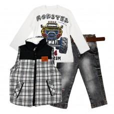 Комплект (куртка-жилет, реглан, джинсы) Cusimio 1406 серый