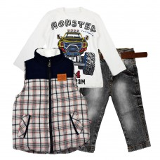 Комплект (куртка-жилет, реглан, джинсы) Cusimio 1406 синий