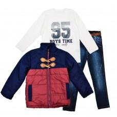 Комплект (куртка, реглан, джинсы) Cusimio 1419 бордовый