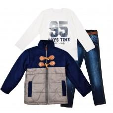 Комплект (куртка, реглан, джинсы) Cusimio 1419 серый
