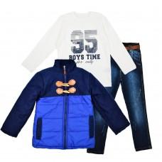 Комплект (куртка, реглан, джинсы) Cusimio 1419 синий