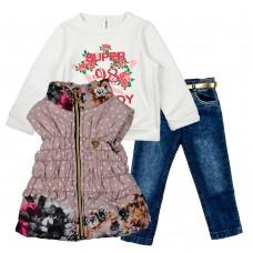 Комплект (куртка-жилет, реглан, джинсы) ECOO 1883 лиловый
