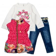 Комплект (куртка-жилет, реглан, джинсы) ECOO 1883 розовый