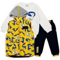 Комплект (жилетка , кофта, штани) 3086 жовтий