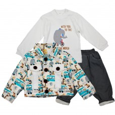 Комплект (куртка, реглан, джинсы) Ventito 3235 (трикотаж, утепленный мехом) серый