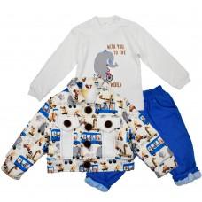 Комплект (куртка, реглан, джинсы) Ventito 3235 (трикотаж, утепленный мехом) синий