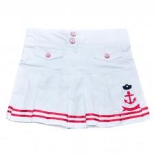 Юбка-шорты PINK 9133 белая с красной полосой