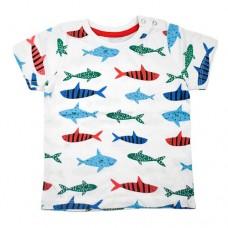 Футболка біла 9072 з рибками