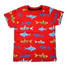 Футболка червона 9072 з рибками