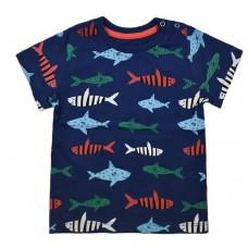 Футболка синя 9072 з рибками