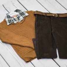 Комплект Fornello (свитер, рубашка, брюки) 2231(коричн)