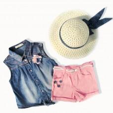 Комплект (шорты, жилет джинсовый, шляпа) MOONSTAR 3708